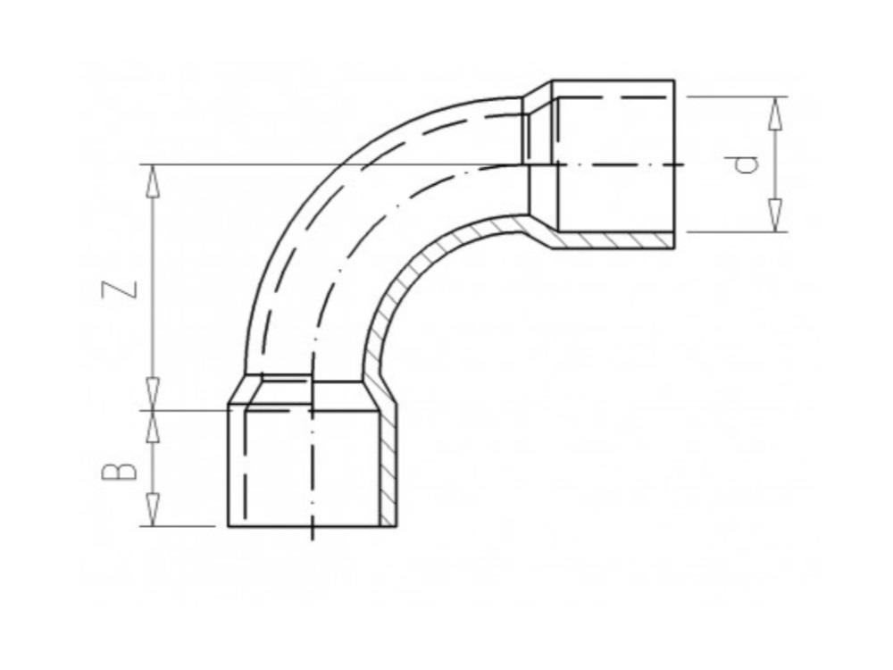 Kolanko łuk 50x50 pcv 90