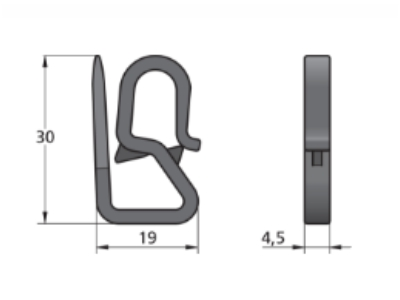 S-hak plastikowy 19x30mm, 4,5mm grubości